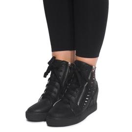 Ażurowe Sneakersy Na Koturnie HQ881 Czarny czarne 1