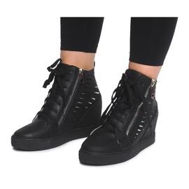 Ażurowe Sneakersy Na Koturnie HQ881 Czarny czarne 5