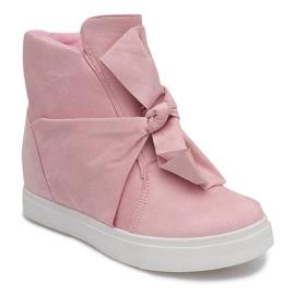 Sneakersy Na Koturnie 1787 Różowy różowe 2