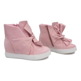 Sneakersy Na Koturnie 1787 Różowy różowe 1