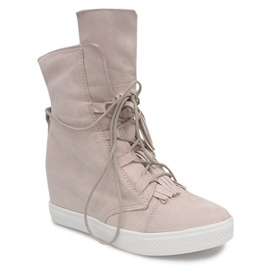 Sneakersy Na Koturnie A30 Beżowy 1