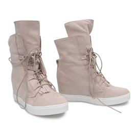 Sneakersy Na Koturnie A30 Beżowy 2
