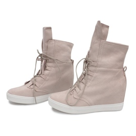 Sneakersy Na Koturnie A30 Beżowy 3