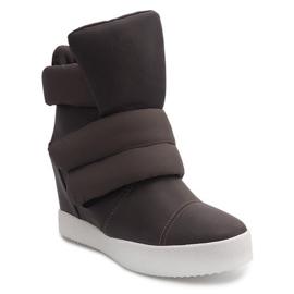 Ocieplane Sneakersy Na Koturnie 01-3 Khaki zielone 2