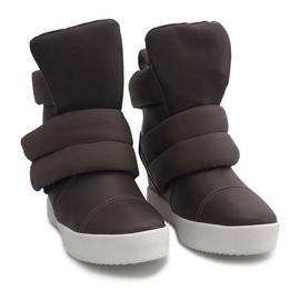 Ocieplane Sneakersy Na Koturnie 01-3 Khaki zielone 3