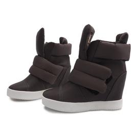 Ocieplane Sneakersy Na Koturnie 01-3 Khaki zielone 1