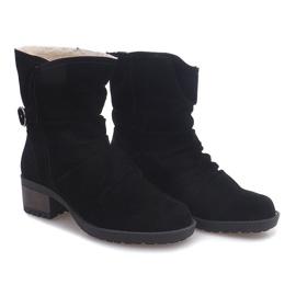 Zamszowe Botki Z Futrem 1226-PA Czarny czarne 2