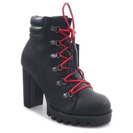 Wiązane Botki Workery 9101-1 Czarny czarne 3
