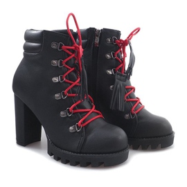 Wiązane Botki Workery 9101-1 Czarny czarne 4