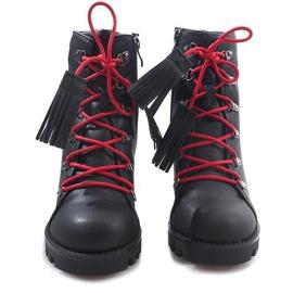 Wiązane Botki Workery 9101-1 Czarny czarne 5
