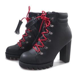 Wiązane Botki Workery 9101-1 Czarny czarne 6