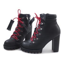 Wiązane Botki Workery 9101-1 Czarny czarne 1