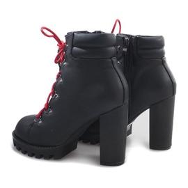Wiązane Botki Workery 9101-1 Czarny czarne 2