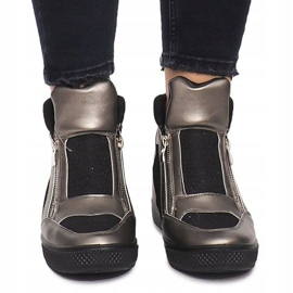 Sneakersy Na Koturnie TL020-3 czarne szare 1