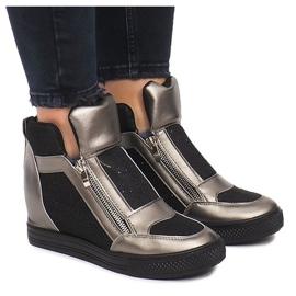 Sneakersy Na Koturnie TL020-3 czarne szare 2