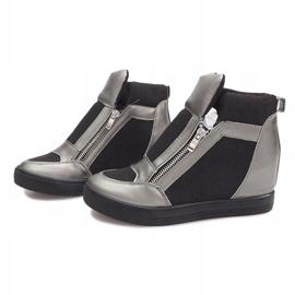 Sneakersy Na Koturnie TL020-3 czarne szare 3