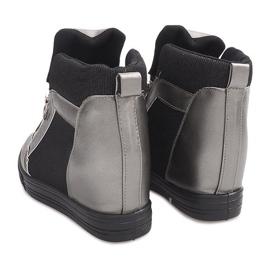 Sneakersy Na Koturnie TL020-3 czarne szare 4