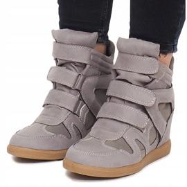 Sneakersy Na Koturnie BZ8386 Szary szare 5