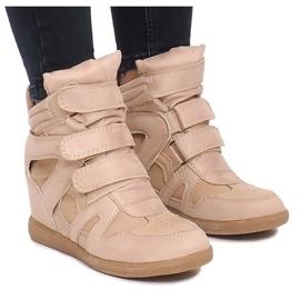 Sneakersy Na Koturnie BZ8386 Khaki wielokolorowe zielone 2