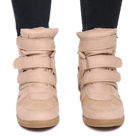 Sneakersy Na Koturnie BZ8386 Khaki wielokolorowe zielone 1