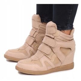 Sneakersy Na Koturnie BZ8386 Khaki wielokolorowe zielone 4