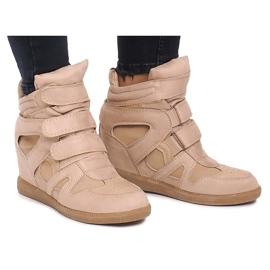 Sneakersy Na Koturnie BZ8386 Khaki wielokolorowe zielone 5