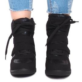Sneakersy Na Koturnie 1628 Czarny czarne 5