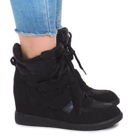 Sneakersy Na Koturnie 1628 Czarny czarne 1