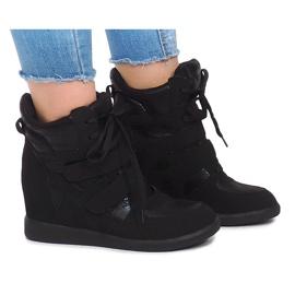 Sneakersy Na Koturnie 1628 Czarny czarne 2