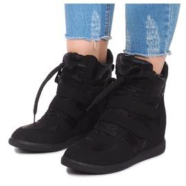 Sneakersy Na Koturnie 1628 Czarny czarne 4