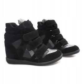 Sneakersy Na Koturnie R9686 Czarny czarne 1