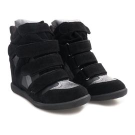 Sneakersy Na Koturnie R9686 Czarny czarne 2