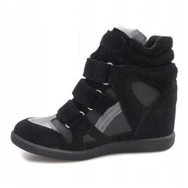 Sneakersy Na Koturnie R9686 Czarny czarne 4