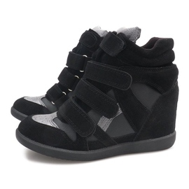 Sneakersy Na Koturnie R9686 Czarny czarne 6