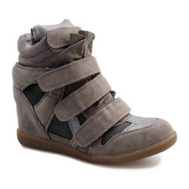 Sneakersy Na Koturnie R9686 Szary szare 2