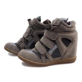Sneakersy Na Koturnie R9686 Szary szare 3