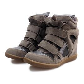 Sneakersy Na Koturnie R9686 Szary szare 4