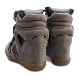 Sneakersy Na Koturnie R9686 Szary szare 1
