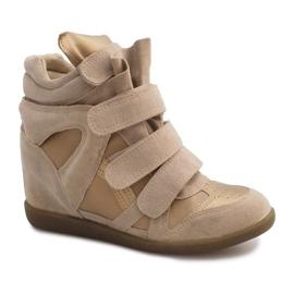 Sneakersy Na Koturnie R9686 Beżowy 1