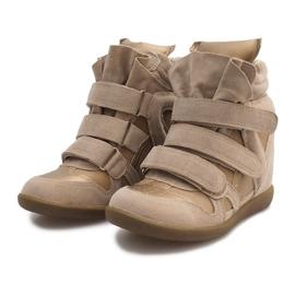 Sneakersy Na Koturnie R9686 Beżowy 3