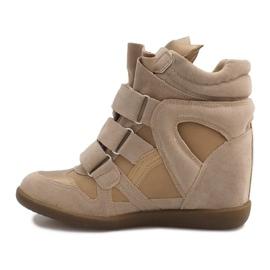 Sneakersy Na Koturnie R9686 Beżowy 2