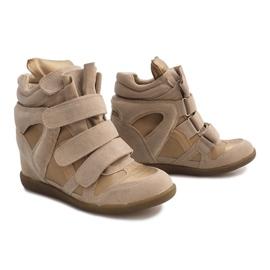 Sneakersy Na Koturnie R9686 Beżowy 4