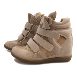 Sneakersy Na Koturnie R9686 Beżowy 5