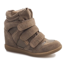 Sneakersy Na Koturnie R9686 Khaki wielokolorowe zielone 1