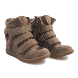 Sneakersy Na Koturnie R9686 Khaki wielokolorowe zielone 2