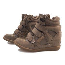Sneakersy Na Koturnie R9686 Khaki wielokolorowe zielone 3