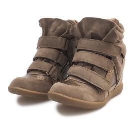 Sneakersy Na Koturnie R9686 Khaki wielokolorowe zielone 4