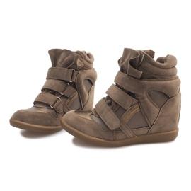Sneakersy Na Koturnie R9686 Khaki wielokolorowe zielone 5