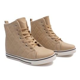 Pikowane Sneakersy Z043 Beżowy 1