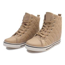 Pikowane Sneakersy Z043 Beżowy 2